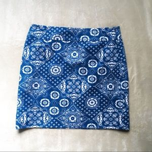 Talbots Blue & White Patterned Pencil Skirt 8P
